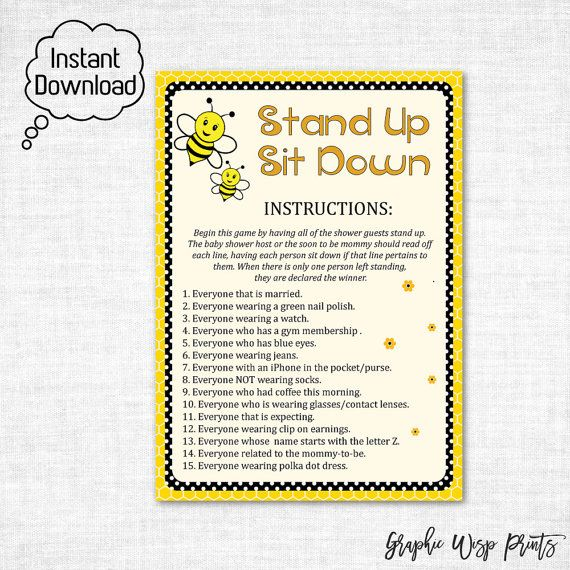 Stand Up Sit Down Baby Shower Printable Game, Bumble Bee Printable Games, Bumble Bee Stand Up Sit Down Game, Instant Download