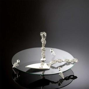 Circular Glass Silver Serving Set Of 2