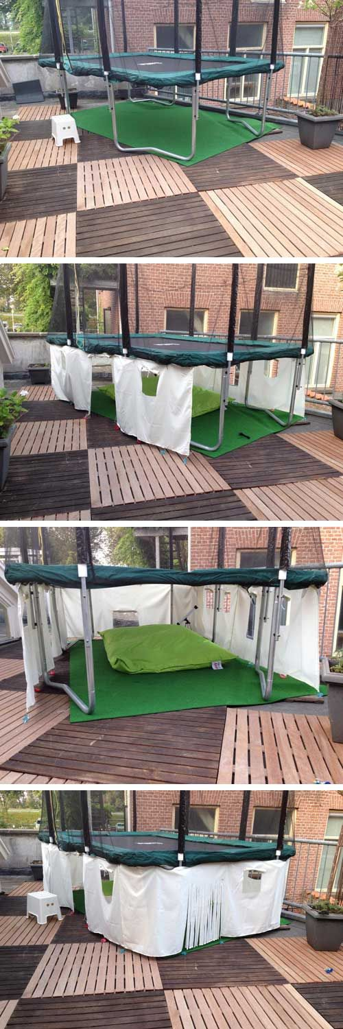 Turn the empty space under a trampoline into a tent with 4 pieces of fabric. Cut doors and windows as you please. Connect to the frame with tie-wraps.