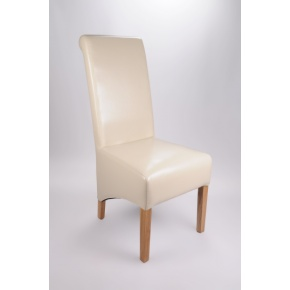 Krista Bonded Leather Dining Chair Ivory  www.easyfurn.co.uk