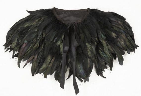 Black feather cape by marpesssa on Etsy, $80.00