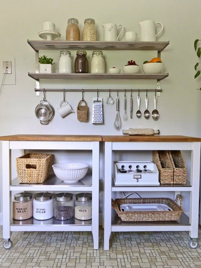 Double up kitchen islands to create ample space, and use floating shelves to display and hold kitchen essentials