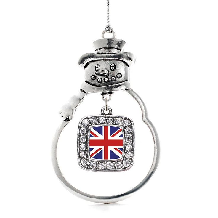 UK Flag Square Charm Holiday Ornament