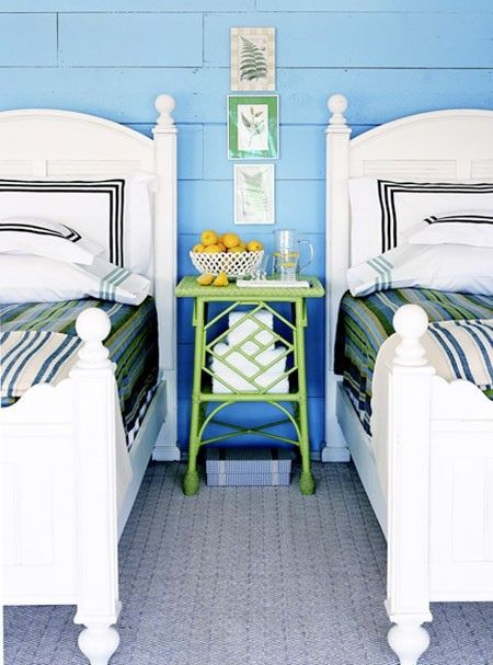 twin bedroom | crisp white pop of blue and green