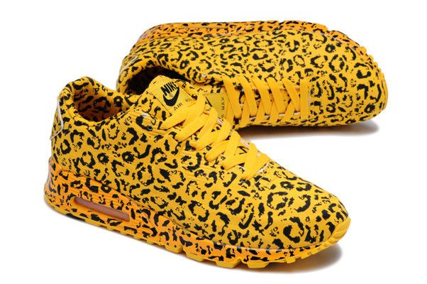 Nike Air Max 90 Running Shoes Leopard patter yellow  Not my particular style but pretty dope!!