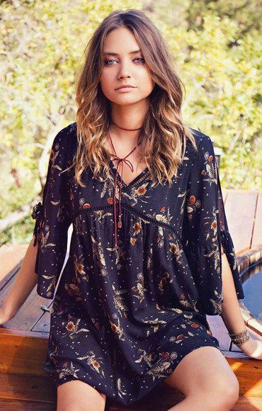 Boho Chic Fall Outfit - Solid crinkle rayon embroidery babydoll dress featuring drawstring on front waist.