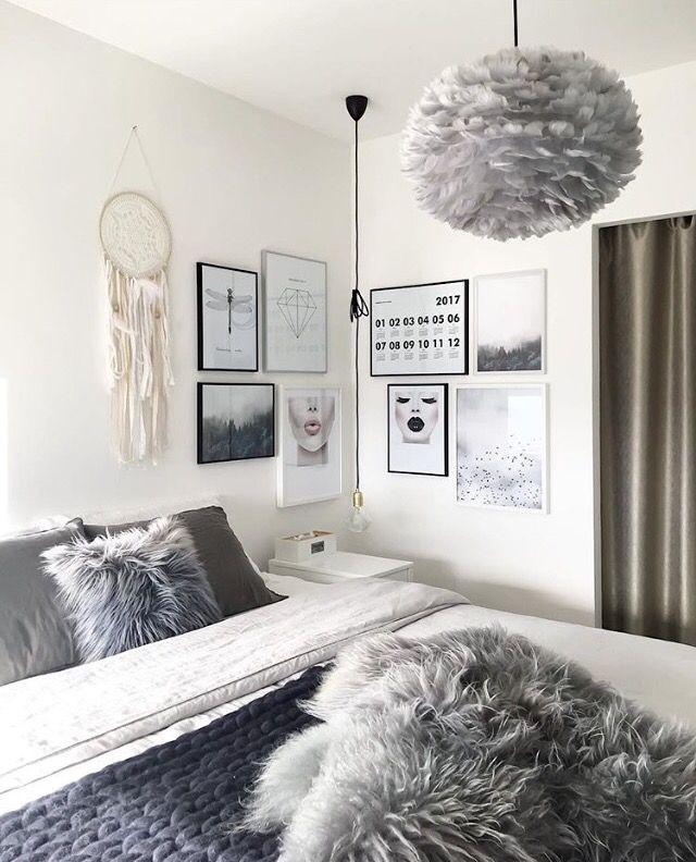 grey  white bedroom  attheaestheticeye home