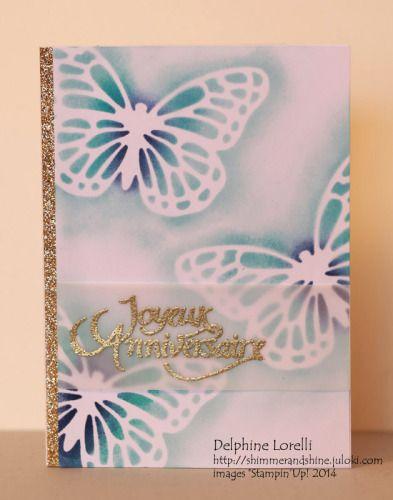 Joyeux Anniversaire - Papillons en guise de pochoirs