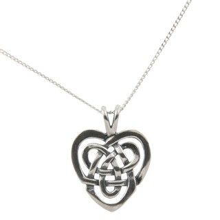 Silvermoon Sterling Silver Celtic Heart Necklace - Overstock.com