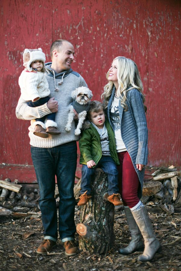 Rustic family portrait - so cute notice the dog held up like a kid :)