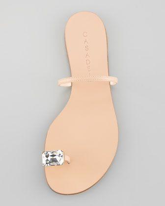 Casadei Flat Crystal Toe-Ring Sandal, love, love love... would wear every weekend
