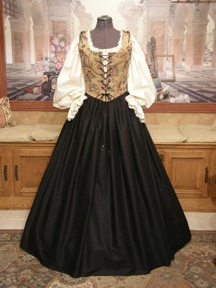 Renaissance Garb WENCH DRESS Bodice Skirt SCA Corset Autumn Costume. $150.00, via Etsy.