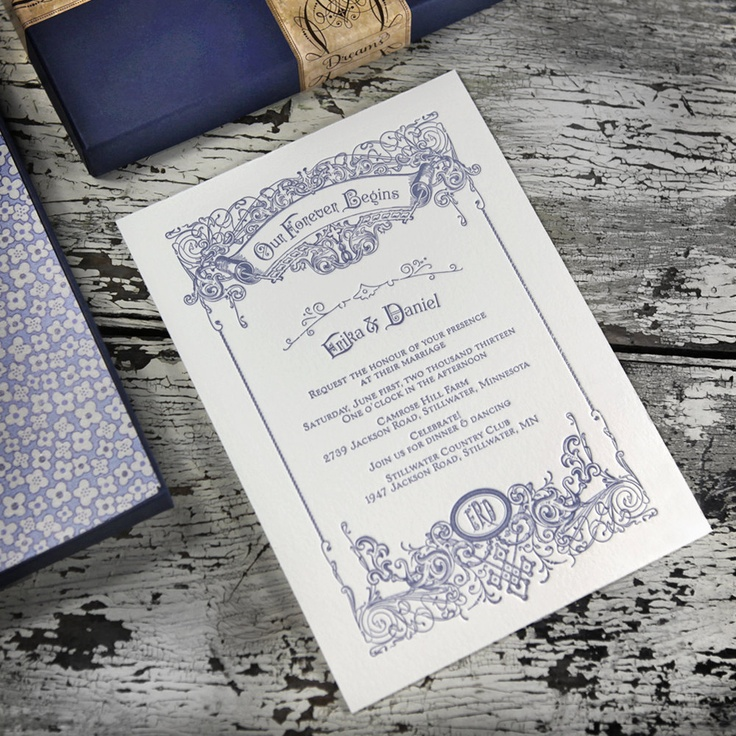 address wedding invitation unmarried couple%0A Victoriana Filigree Letterpress Wedding Invitation