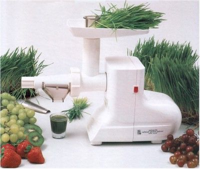 The Miracle Wheatgrass Juicer MJ550 juices leafy greens, wheatgrass, soft fruits & tomatoes. Free shipping from VeggieSensations.com http://www.veggiesensations.com/collections/wheatgrass-juicers/products/miracle-wheatgrass-juicer-mj550