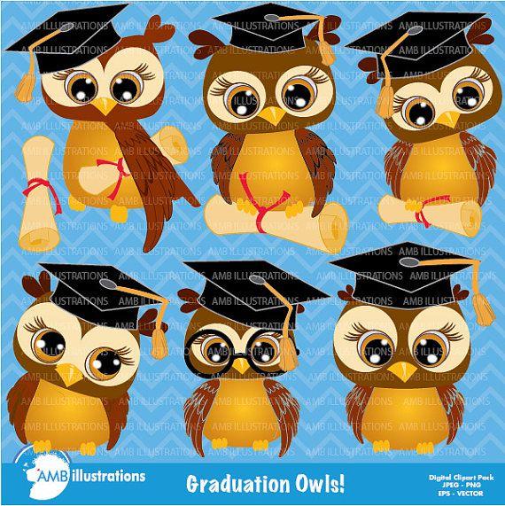 80%OFF Graduation clipart Owls clipart por AMBillustrations en Etsy