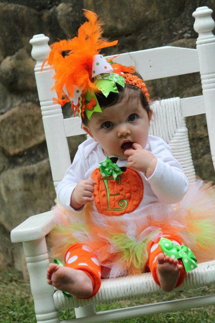 Pumpkin Outfit  Baby Girl Pumpkin Outfit  by DarlingLittleBowShop