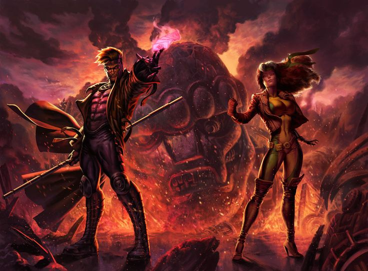 Defeating a Sentinel! SSC - Gambit and Rogue by *anklesnsocks on deviantART