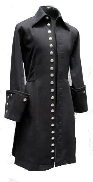 Shrine Black Velvet VICTORIAN MOURNING Mens goth Gothic Pirate coat jacket L