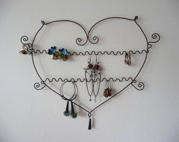 handmade heart shaped earring hanger