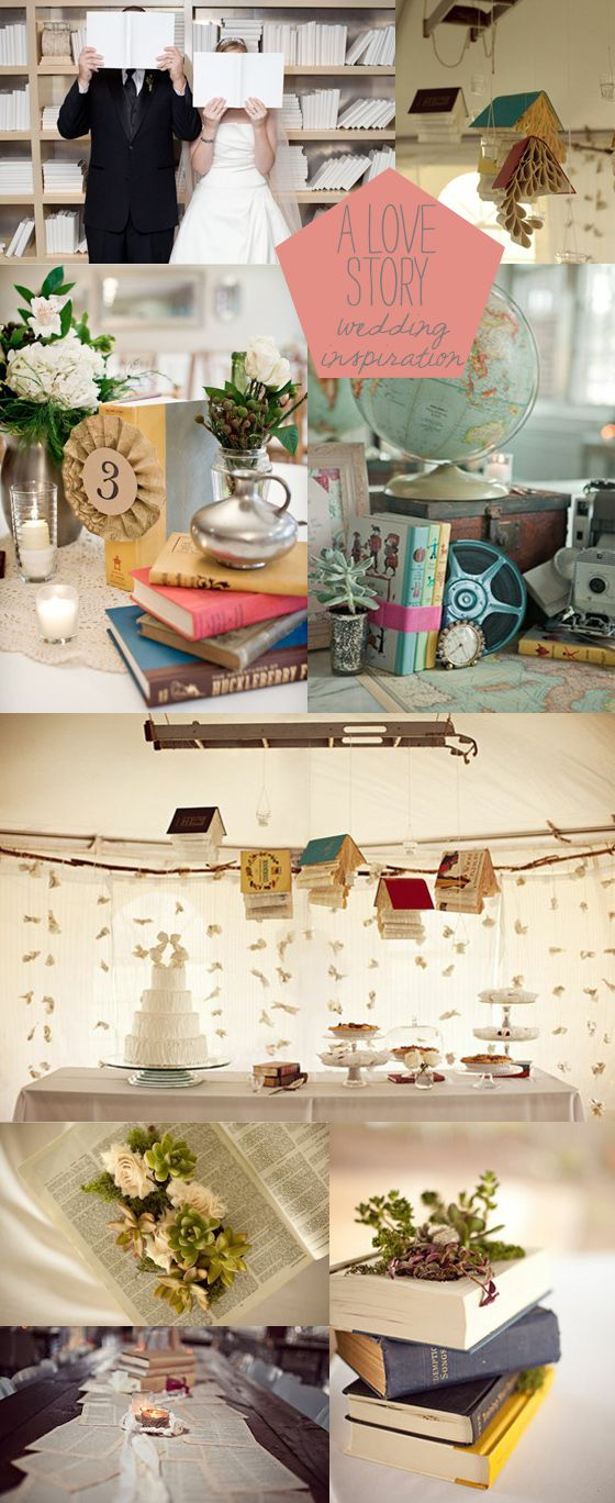 I know there are lots of succulents in this, so just ignore them...but I love the hanging books!  And the book pages used instead of table runners!