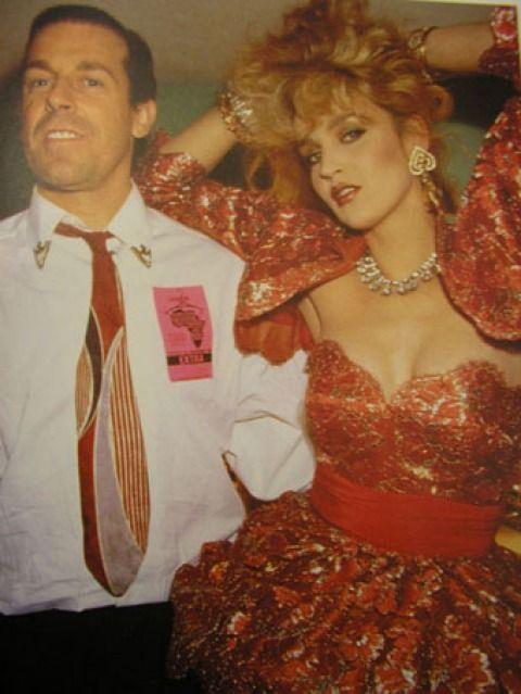 "Antony Price (Roxy's ""chief illusionist"") & Jerry Hall at Fashion Aid, 1985."