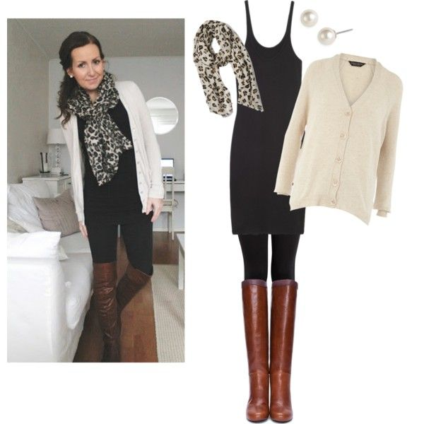 Black tank dress, leggings, cream cardigan and leopard scarf