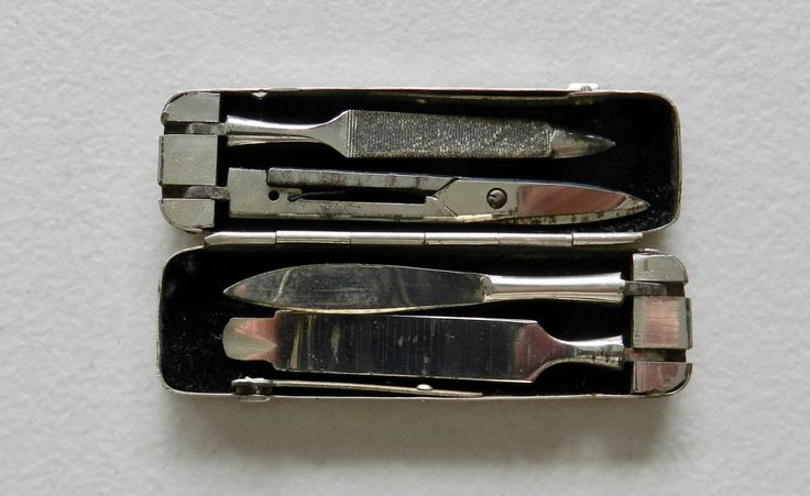 Vintage Compact All-In-One Steel Cased Manicure Set