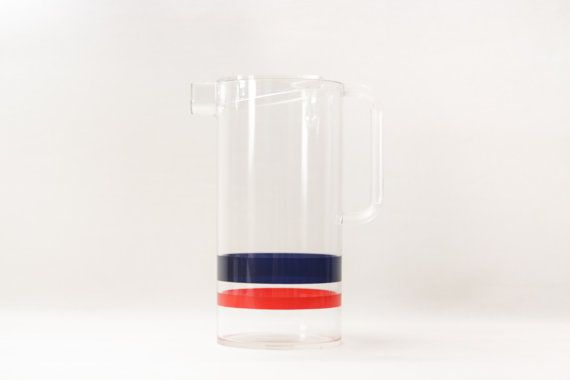 Cocktail carafe with blue and red line / Space by Ottantaocchi