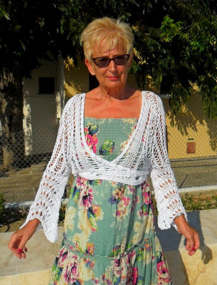 Lacy white cotton bolero by SimonaStyleByHand on Etsy