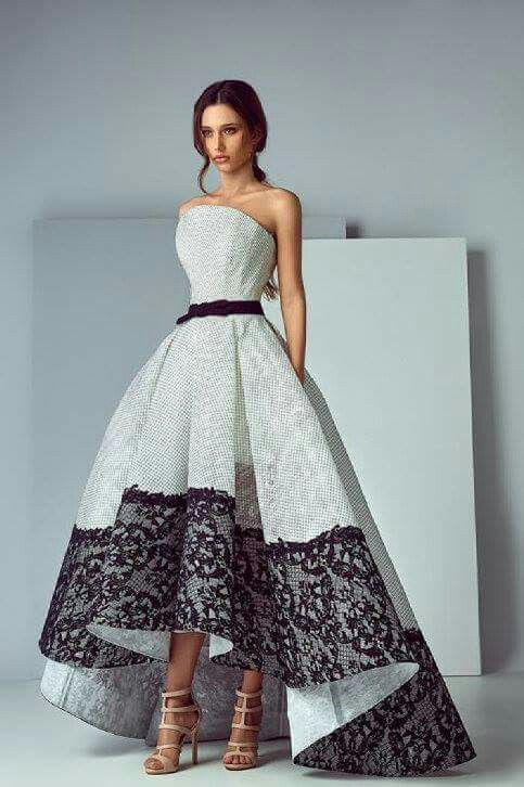 Fashion haute couture luxury armless white embroidery long wedding dress with black lace and belt, long skirt fashion style editorial studio photography full body portrait
