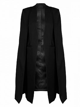 Black Collarless Open Front Longline Cape