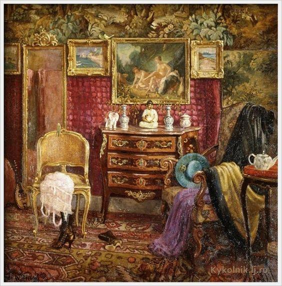 Einar Mogens Wegener (Danish, 1882-1931) «An Interior of a Boudoir» 1916 (Rue de Lille)