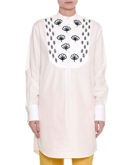 VALENTINO Embroidered Long Cotton Tunic, White. #valentino #cloth #