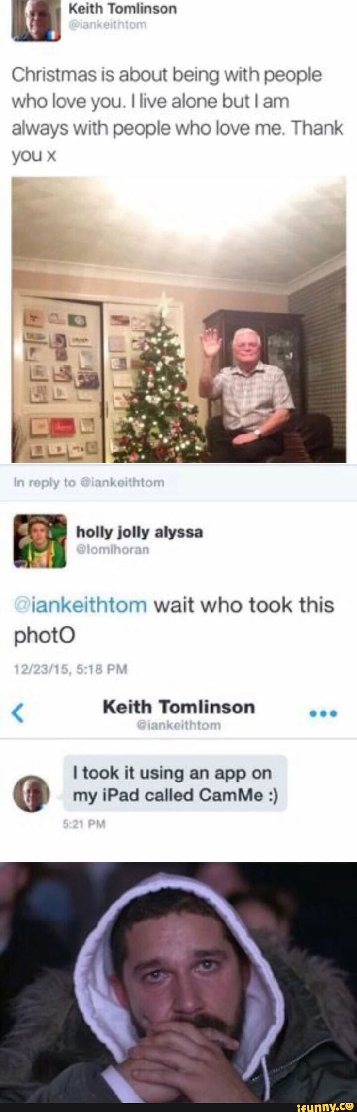 The best parts of this whole thing is that the guys last name is Tomlinson and the person who asked him the question has Niall Horan as their profile pic.