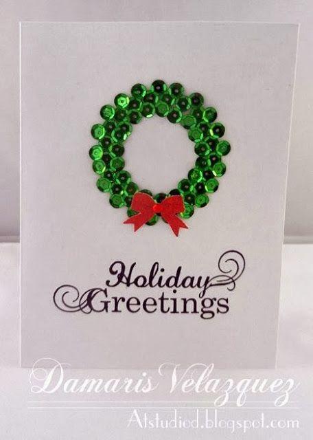 Sequin Wreath Card. - ... At Studio D