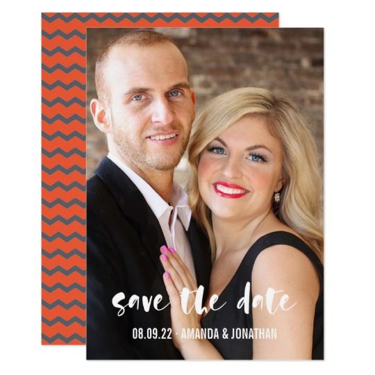 #grey and #orange #chevron #wedding #savethedate #photo card