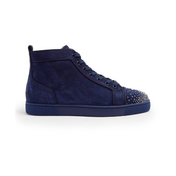 huge discount 3859d ed99f Christian Louboutin Lou crystal-embelished suede high-top ...