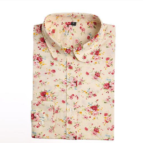 Women's Floral Print Cotton Long Sleeve Turn Down Collar Blouse | 9th Wave