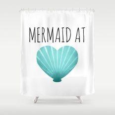Mermaid At Heart | Teal Shower Curtain