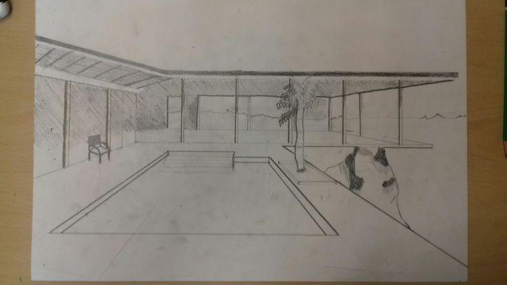 """Ik ben bezig met het tekenen van 'The Stahl House' het tekenen van het huis gaat goed alleen ik moet nog even de palmboom wat realistischer maken door de bladeren aan de passen. En het zwembad moet nog """"gevuld"""" worden"""