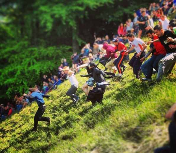 Cooper's Hill Cheese Rolling competition (UK) - Chase down a cheese together with 19 other young men from a hill on the 30th May 2016. Tumble down 200 yards - whoever reaches the bottom first is the winner. - Want to discover more hidden gems in Europe? All of them can be found on www.broscene.com
