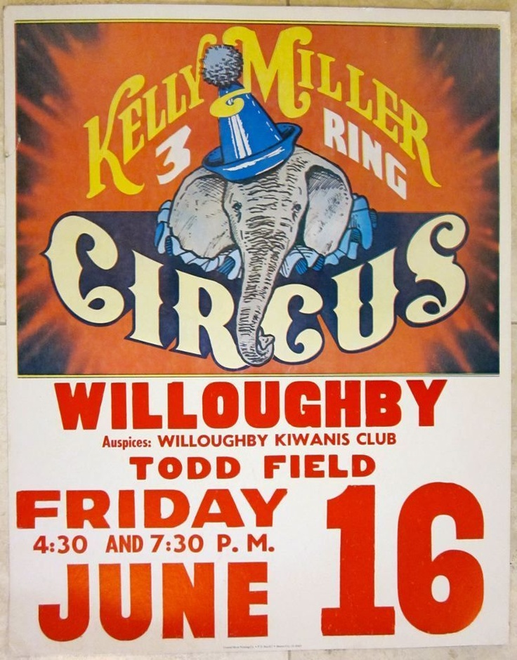 Vintage Kelly Miller 3 Ring Circus Poster Cool Elephant with Party Hat Artwork | eBay