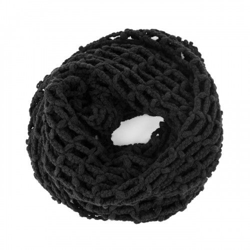Cutout Knit Infinity Scarf  - Black