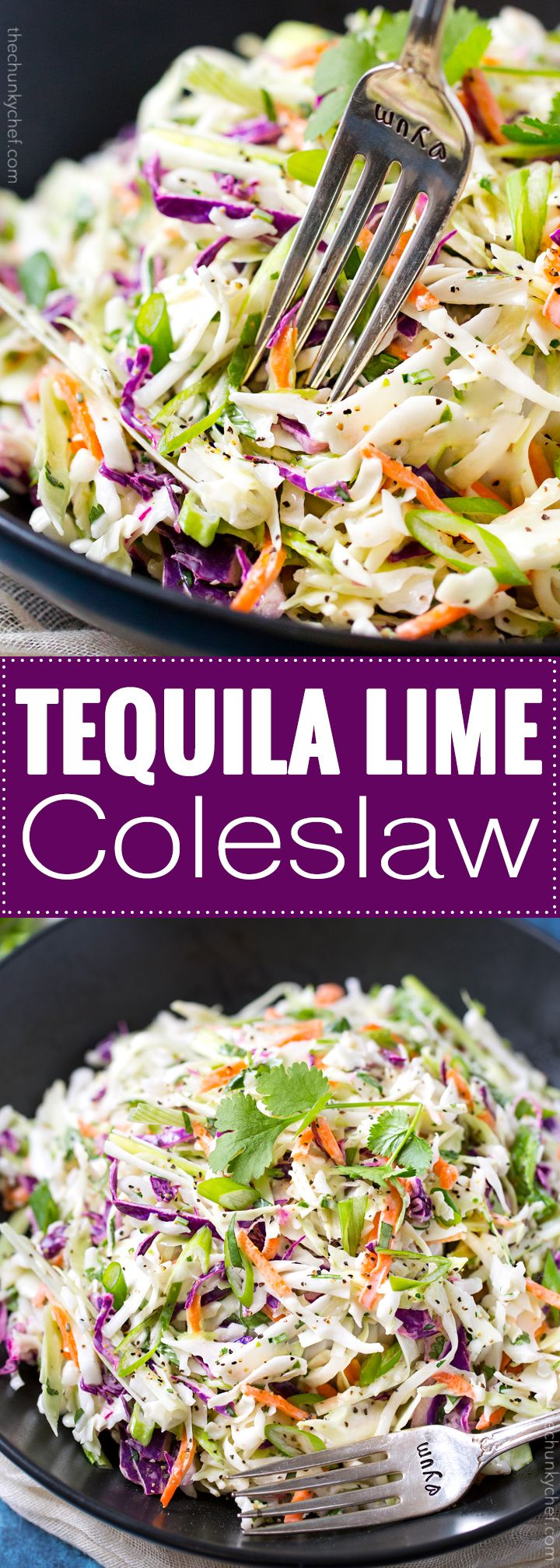 Tequila Lime Coleslaw with Cilantro | This unique coleslaw recipe combines great Mexican flavors like tequila, lime and cilantro, for a truly crowd-pleasing side dish! | http://thechunkychef.com