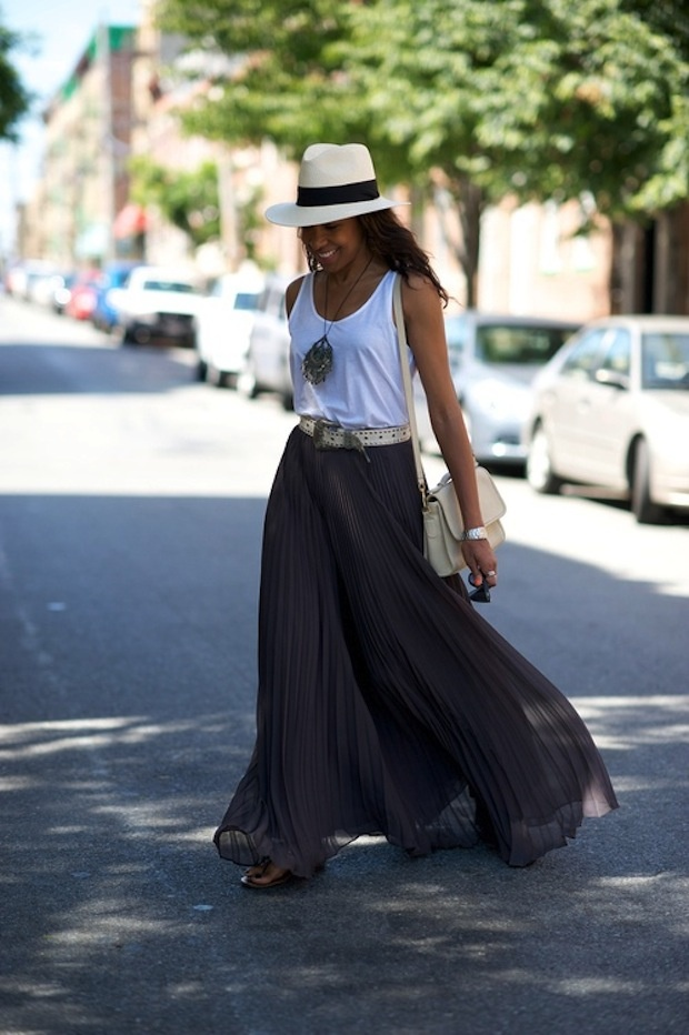 flowing pleated grey maxi skirt and loose white tank top