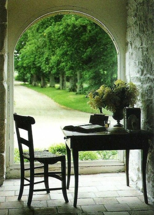 Window, floor,: Writing Desks, Gardens Offices, Paris Apartment, Window, Work Spaces, Workspaces, Writing Nooks, French Country, Reading Nooks