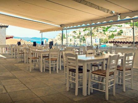 Psaropoula Restaurant Hydra Island Greece, harbour and sea views, Mediterranean and Traditional Cuisine, lunch, dinner and perfect location for wedding and event receptions.