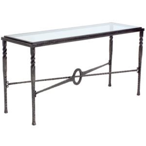 Glass Top Wrought Iron Console Table