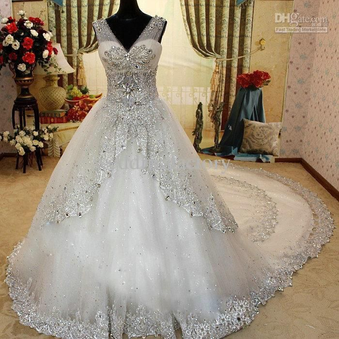 2013 Luxury Rhinestone Wedding Dresses Bling Bling Beaded Crystal V-neck Sheer Straps Sweep White Lace Bridal Gown Dresses
