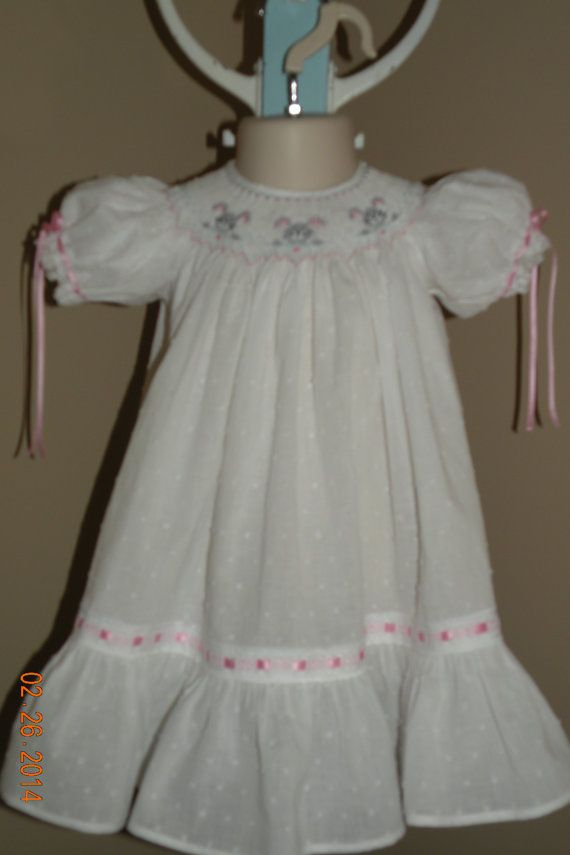 White Hand Smocked Easter Dress by TheSmockingGarden on Etsy
